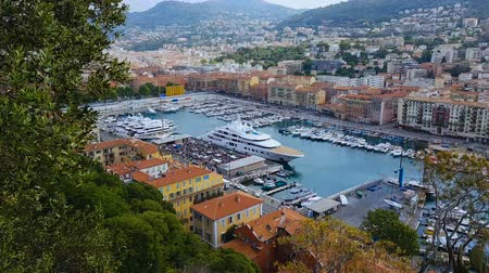 costa azzurra : Nice port with many luxury white yachts and boats, water transport, traveling
