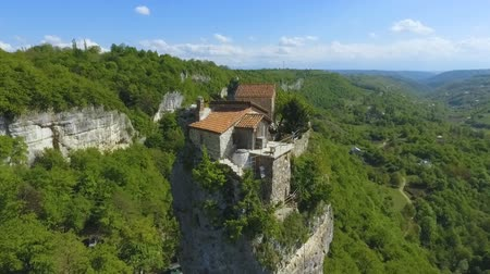 monolith : Aerial view of Katskhi Pillar with ancient church on top in Chiatura, Georgia