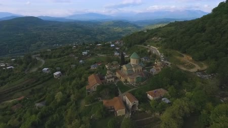 ortodoks : Caucasus green hills with famous ancient Bagrati Cathedral, Kutaisi sightseeing Stok Video