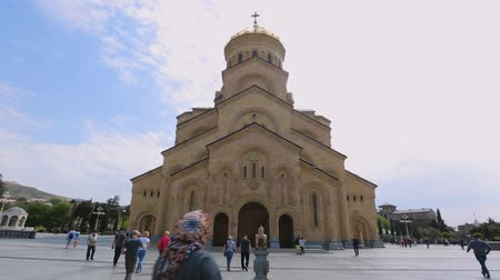 byzantský : Famous Holy Trinity Cathedral in Tbilisi, tourist attraction, Christian shrine