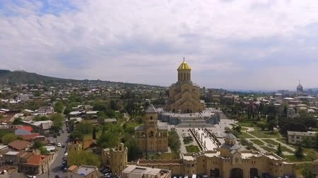 liturgy : Huge territory of Holy Trinity Cathedral in Tbilisi, famous Christian shrine