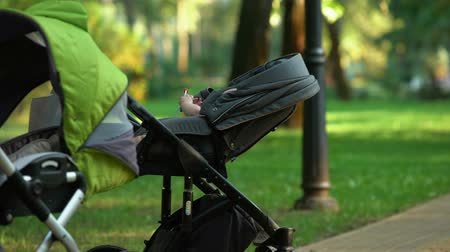 demographic : Baby in stroller plays rattle, social support after childbirth, population Stock Footage