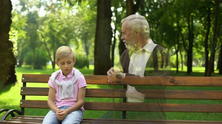 bereavement : Boy remembers dead granddad, watching his ghost on bench, loneliness and sadness