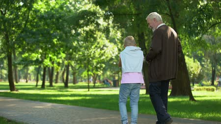 пенсионер : Granddad walking with grandson, shares experience, education of new generation Стоковые видеозаписи