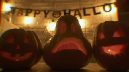hallows : Traditional curve face hallowing pumpkins at hallowing party, trick or treat Stock Footage