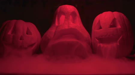 hallows : Scary carved Jack O Lantern pumpkins blurred in darkness, Halloween nightmare Stock Footage