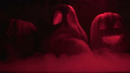perso : Horrible Halloween pumpkins smoky in red light, all saints eve, trick or treat