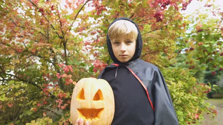 vampiro : Boy in Halloween costume holding pumpkin jack-o-lantern, alone in forest. Stock Footage