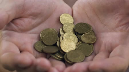 meio : Close up of mans cupped hands showing euro coins, low income and poverty concept