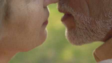 szentimentális : Two old people kissing in summer park, romantic moment on date, close up