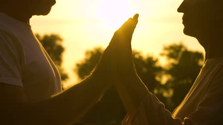 признание : Elderly man and woman holding hands and meditating in evening park, close up