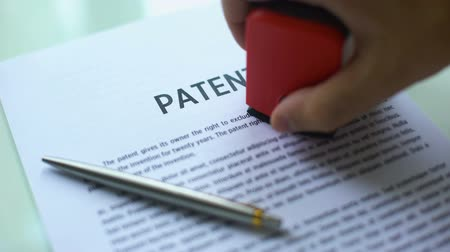 отказ : Patent document rejected, hand stamping seal on official paper, copyright law