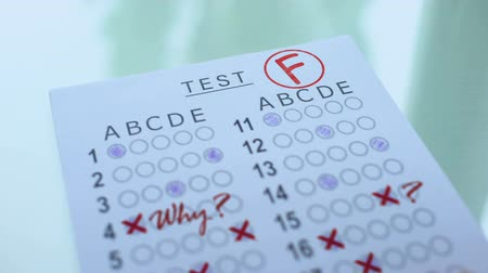 notas : F grade on test paper, academic assessment result, failed entrance examination