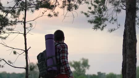 времяпровождение : Inspired male backpacker enjoying amazing sunset from woodland hill.