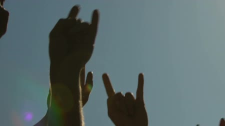 emelt : Male and female raising hands up, waving to music at open space rock concert