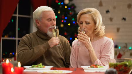 lasting : Elderly husband and wife drinking champagne on Xmas eve. Stock Footage