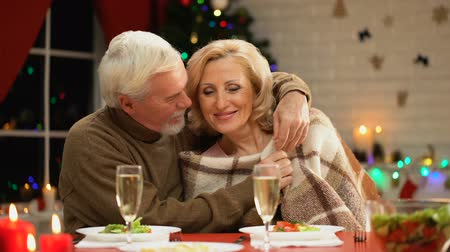 lasting : Aging husband covering wife with cozy plaid and hugging her tenderly, Xmas eve Stock Footage