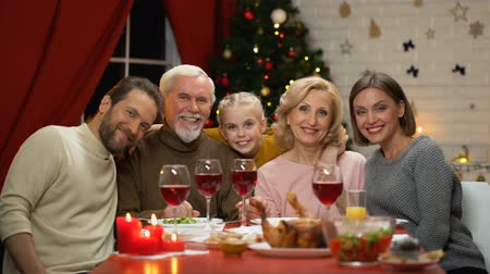 фото : Family sitting at table having traditional Xmas dinner looking to camera zoom-in Стоковые видеозаписи