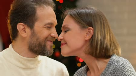 konfor : Happy married couple nuzzling and embracing, enjoying magical Christmas night Stok Video