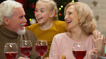 happy holidays : Family chatting and joking at Christmas dinner, happy to meet for holidays