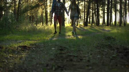 кемпинг : Couple walking and flirting with each other, holding hands, romantic date