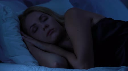 deprivation : Beautiful woman suffers from insomnia, life troubles and stress disturb sleep