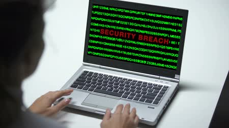 vazamento : Security breach attack on laptop computer, woman working in office, cybercrime