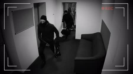 housebreaking : Masked thieves running off with begs of money, shooting in surveillance camera Stock Footage