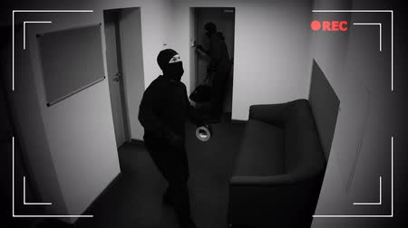 disarming : Thieves disarming burglar alarm and taping CCTV camera, brake into apartment Stock Footage