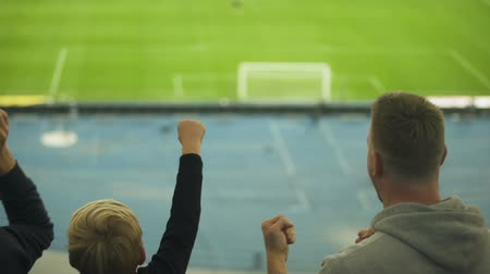 roaring : Little boy with older brothers watching football game, emotional fans, joy
