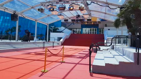 威信 : Red carpet on stairs in entrance of Palais des Festivals et des Congres, Cannes 動画素材
