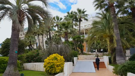 азартная игра : Casino de Monte-Carlo among palm trees, man carries huge bag with money to bet