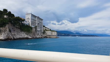 magnífico : Facade of Oceanographic Museum in Monaco on rock cliff, tourist POV from bridge