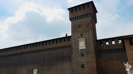 milan : Sforza Castle in Milan, strong walls of famous citadel, historical attraction Stock Footage