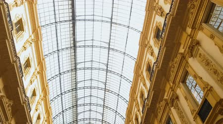 milan : Panoramic roof of Galleria Vittorio Emanuele II, iron-and-glass construction