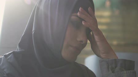 social inequality : Portrait of upset Muslim woman, discrimination problem, gender inequality