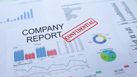 semanal : Company report confidential, hand stamping seal on official document, statistics