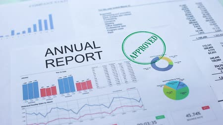earnings : Annual report approved, hand stamping seal on official document, statistics