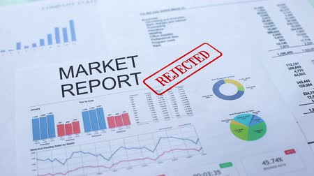 semanal : Market report rejected, hand stamping seal on official document, statistics Vídeos