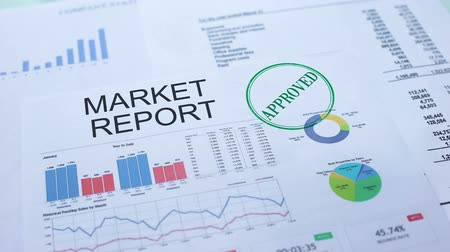 aprovado : Market report approved, hand stamping seal on official document, statistics Vídeos