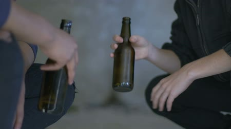 подростковый возраст : Boys drinking beer hiding from adults feeling themselves older, first experience