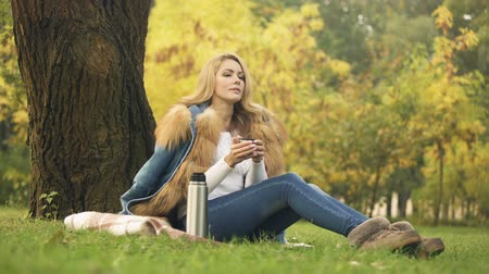 vin brulè : Woman pouring hot tea from thermal, warming beverage, picnic in autumn forest Filmati Stock