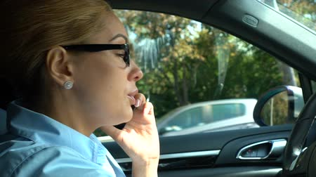 businesslady : Businesswoman talking on cellphone, sitting on drivers seat in car, safety rules