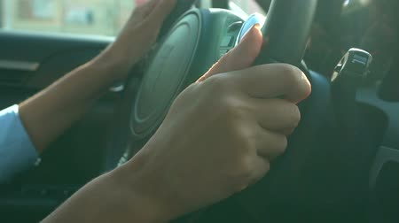 engedély : Hands of business woman holding steering wheel, driving vehicle, traffic jam