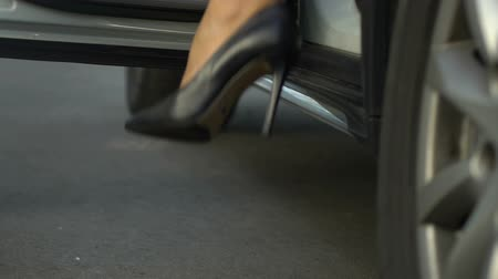job transfer : Assistant opening door to female boss, high heeled woman getting out of auto