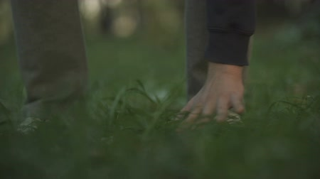 ambientalmente : Hand touching grass, unity with nature, caring about environment, eco-friendly Vídeos