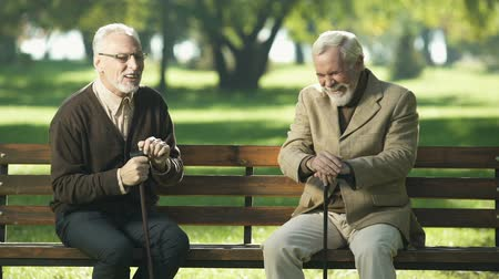 cavalheiro : Two old men relaxing and having fun in park of nursing home, happy memories