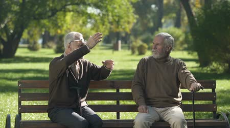 incredibile : Old man emotionally telling unbelievable story to friend, leisure time in park Filmati Stock