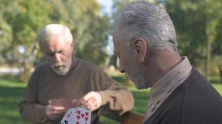 mates : Two grandfathers playing cards on bench in park, weekend leisure, old age hobby