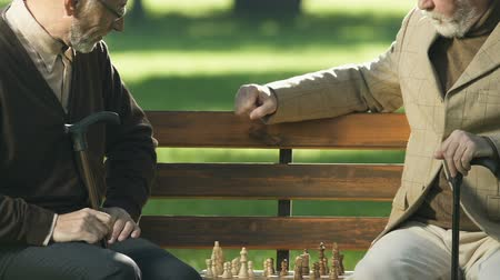 estratégico : Retired male friends playing chess on bench, having fun together, checkmate